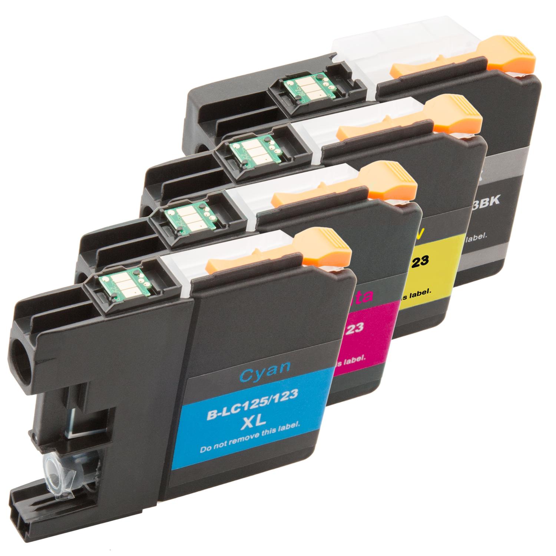 4er-Set: Komp. Tintenpatronen für Brother LC-121/LC-123/LC-125/LC-127 (XL) | mit