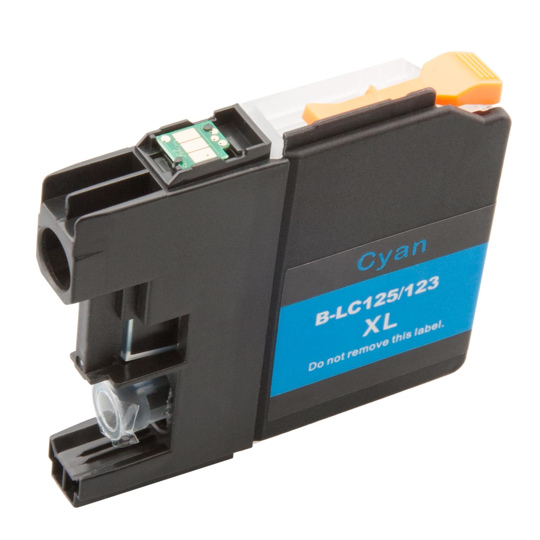 Komp. Tintenp. für Brother LC-121/LC-123/LC-125 | cyan (XL) | mit Chip (V3)