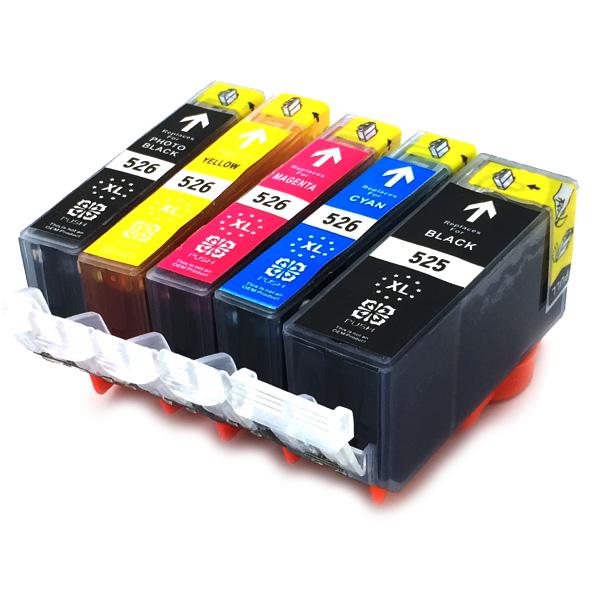 5er-Set: Komp. Tintenpatronen für Canon 525/526 | mit Chip