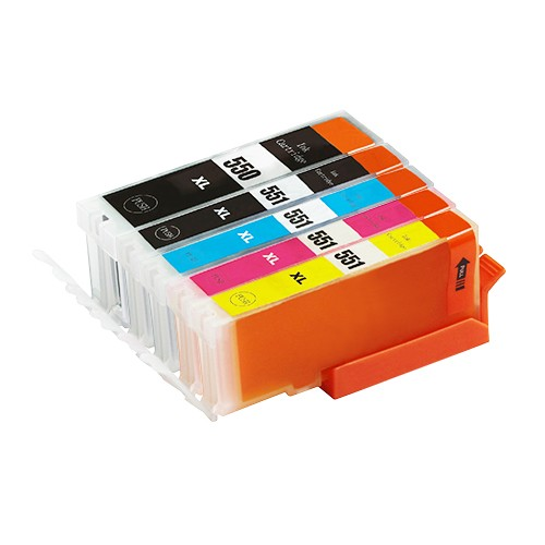 5er-Set: Komp. Tintenpatronen für Canon PGI-550/CLI-551 | mit Chip