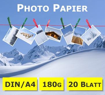 Photo-Glossy Papier | hochglänzend | A4 | 180g | 20 Blatt